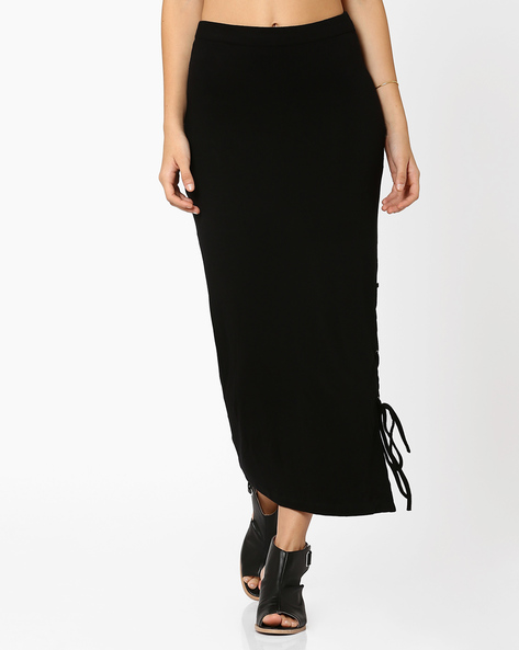 Maxi Skirt With Eyelet Tie-Up By RIDRESS ( Black )