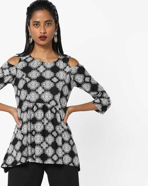 All-Over Print Cold-Shoulder Top By And ( Multi )