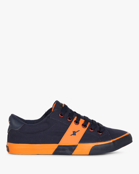 Canvas Sneakers With Contrast Strip By SPARX ( Navy )