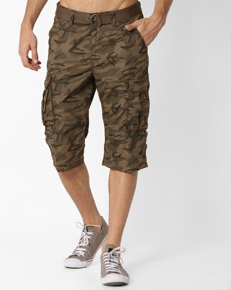 Slim Fit Camouflage Print Shorts By DNM X ( Olive )