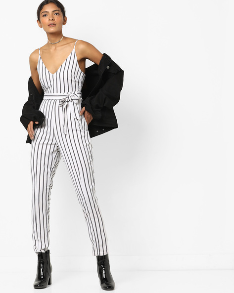 Ankle-Length Striped Jumpsuit With Tie-Up By INFLUENCE ( White )
