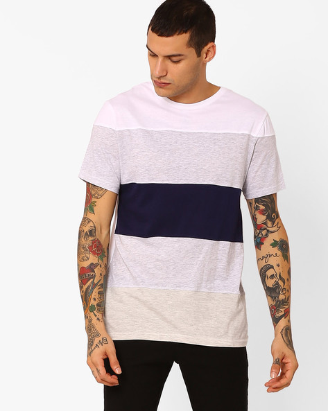 Panelled Cut & Sew Slim Fit T-shirt By Blue Saint ( Multi )