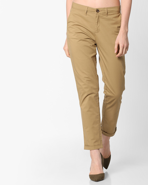 Ankle-Length Pants With Upturned Hems By Project Eve WW Casual ( Beige )