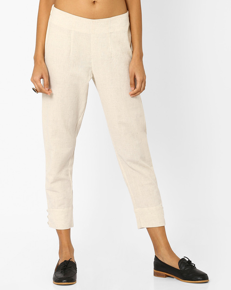 Cropped Pants With Elasticated Back By AJIO ( Offwhite )