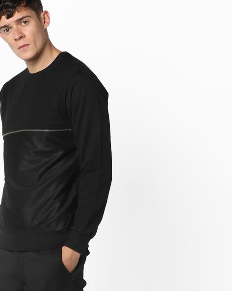 Crew-Neck Sweatshirt With Mesh Panel By Garcon ( Black )