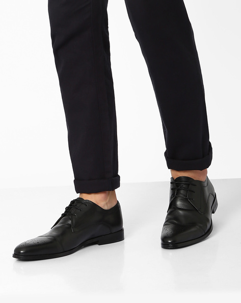 Genuine Leather Derby With Brouging By HATS OFF ( Black )