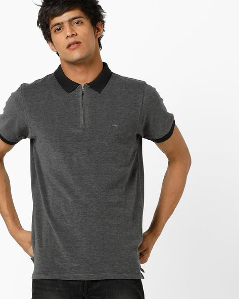 Polo T-shirt With Zip Placket By Lee ( Black )