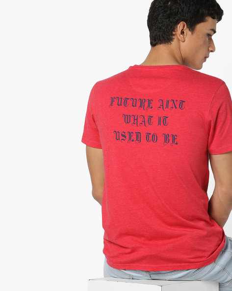 Crew-Neck T-shirt With Printed Back By AJIO ( Red )
