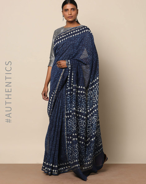 Handblock Indigo Print Chanderi Saree With Zari By Indie Picks ( Indigo ) - 460146835001