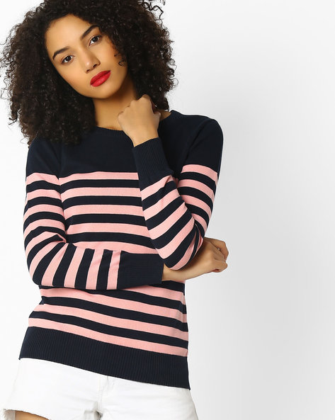 Striped Pullover With Ribbed Hems By Teamspirit ( Navy )