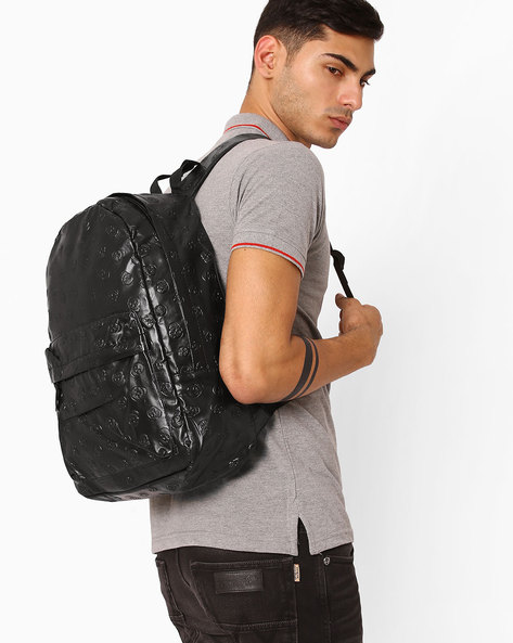 Skull Embossed Backpack By Chasquido ( Black )