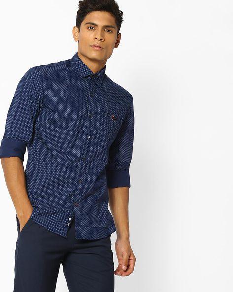 Slim Fit Ditsy Print Shirt By NETPLAY ( Navy )