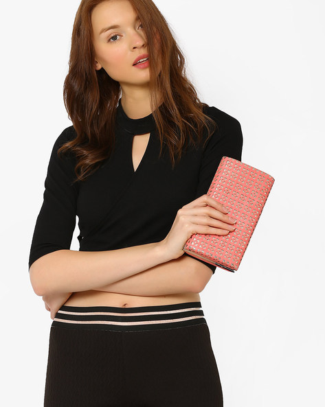 Clutch With Laser Cut Design By Lino Perros ( Pink )