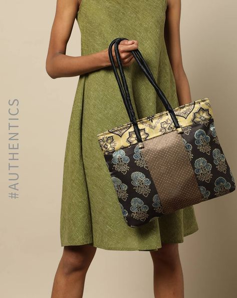 Ajrak Handblock Print Mashru Tote Bag By Indie Picks ( Multi ) - 460176184001