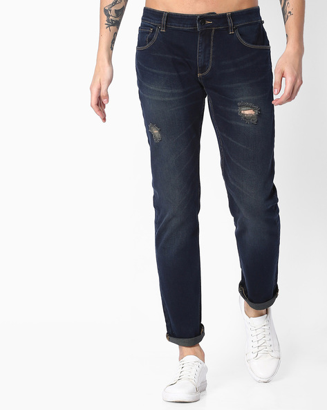 Lightly Washed Distressed Jeans By Blue Saint ( Navyblue )
