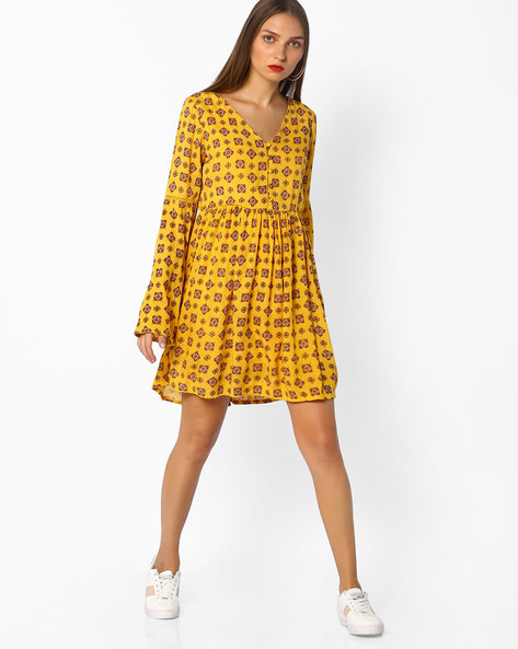 Printed A-line Dress By AJIO ( Yellow )