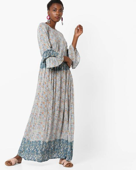 Floral Print Maxi Dress With Ruffled Sleeves By Rena Love ( Multi )