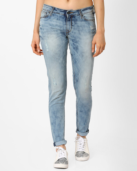 Heavily Washed Slim Fit Jeans By Pepe Jeans ( Monacoblue )