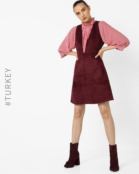 Sleeveless A-line Dress With Plunge Neckline By TRENDYOL ( Wine )
