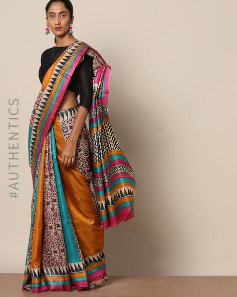 Handloom Pure Silk Tussar Ghicha Printed Saree By Indie Picks ( Multi ) - 460146991001