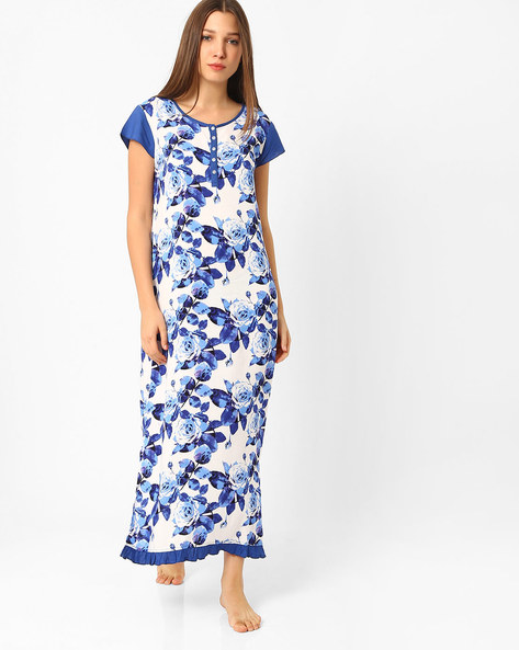 Floral Print Night Dress By Heart 2 Heart ( White )