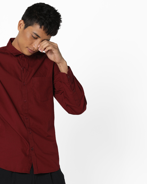 Slim Fit Shirt With Curved Hem By Highlander ( Maroon )