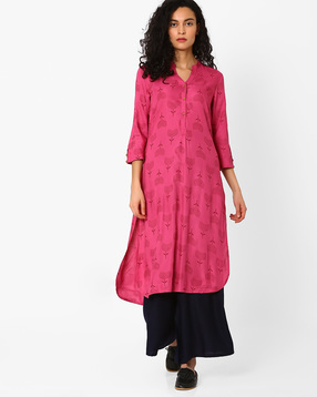 Floral-Print-High-Low-Kurta