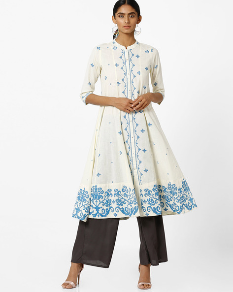 Anarkali Kurta With Mandarin Collar By SIYAHI ( Offwhite )
