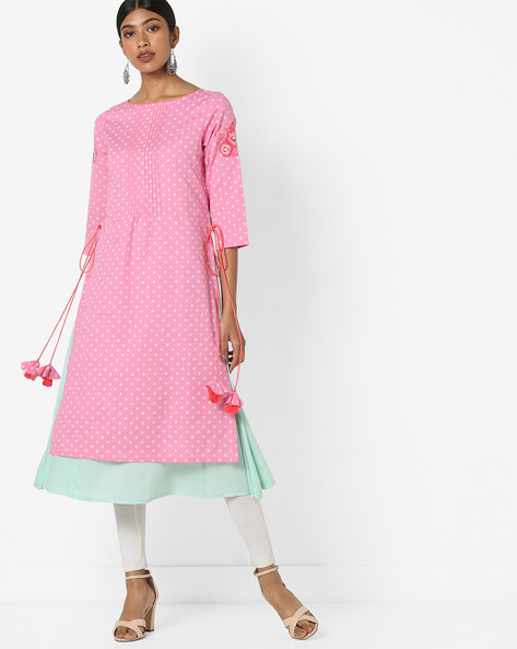 Embroidered Layered Kurta With Tasselled Tie-Ups By AJIO ( Pink )