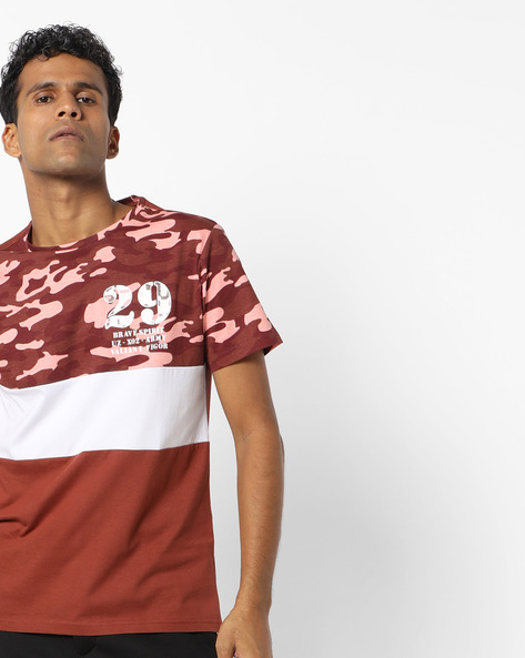 Panelled T-shirt With Camouflage Print By AJIO ( Wine )