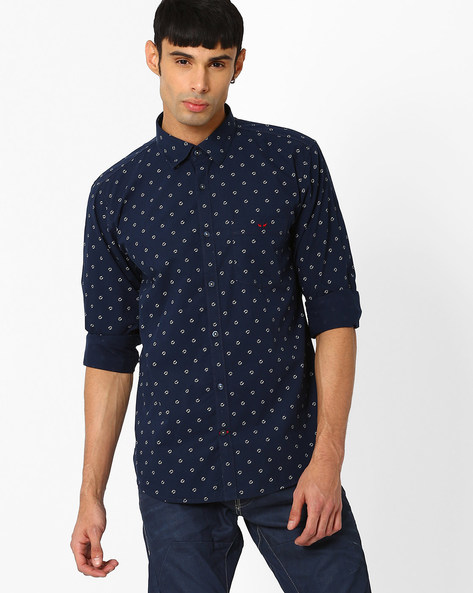 Slim Fit Shirt With Horseshoe Print By CRIMSOUNE CLUB ( Black )