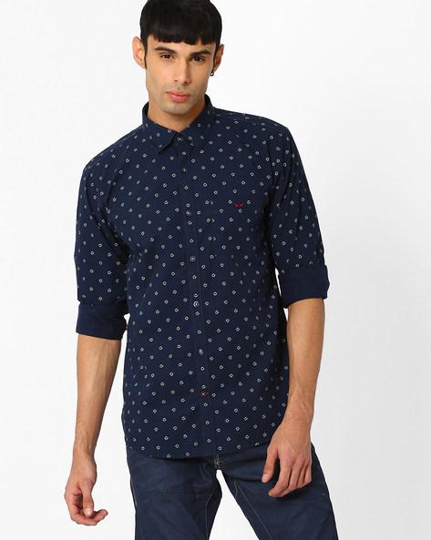 Slim Fit Shirt With Horseshoe Print By CRIMSOUNE CLUB ( Black )