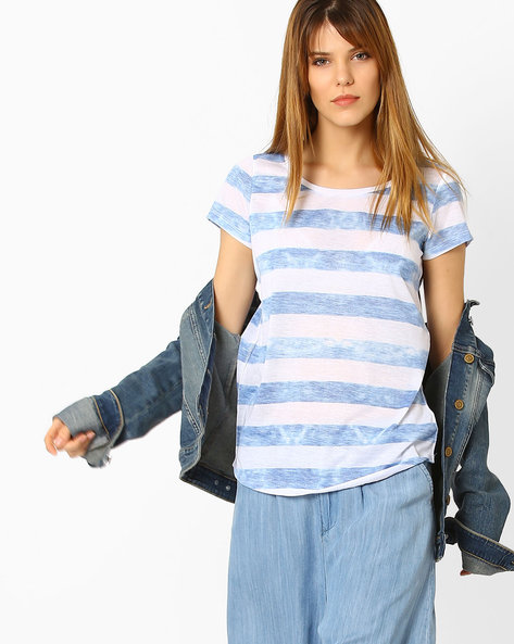 Striped T-shirt With Curved Hemline By Fame Forever ( Sblue )