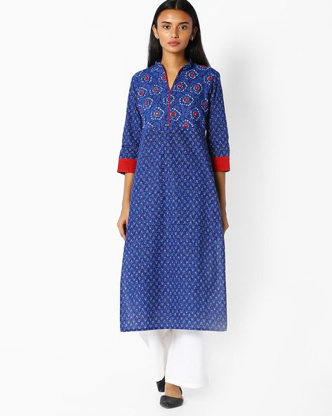 Straight Kurta With Mandarin Collar By Jaipur Kurti ( Blue )