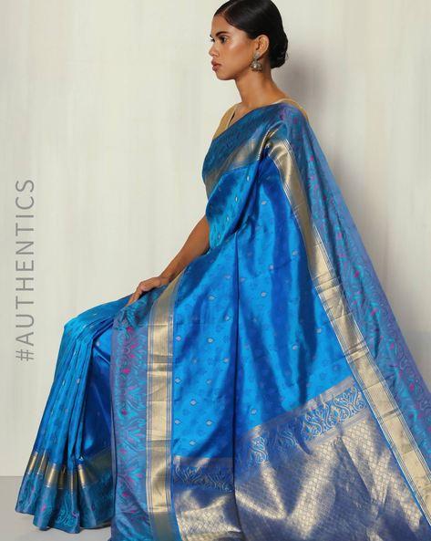 Handwoven Pure Silk Saree With Zari Pallu By BANASURI ( Blue )