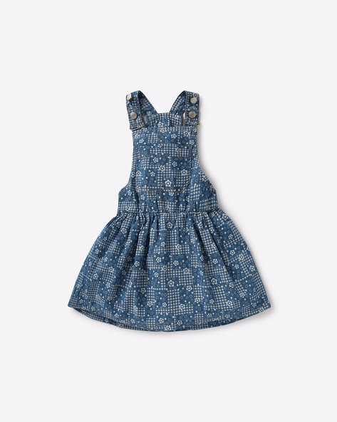 Printed Dungaree Dress By KG FRENDZ ( Blue )