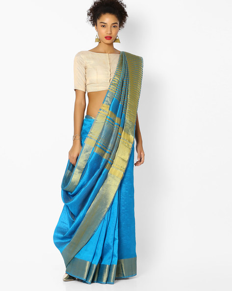 Striped Saree With Zari Border By Vastrangi ( Blue )
