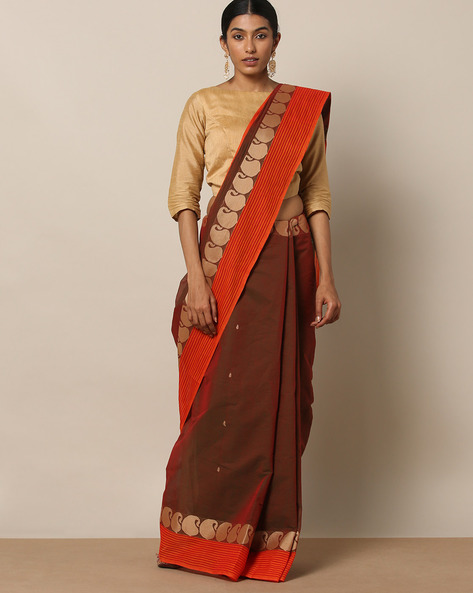 Kanchi Cotton Saree With Woven Border By Indie Picks ( Brown )