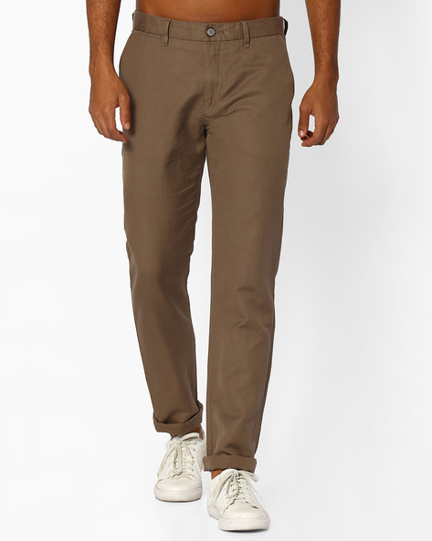 Slim Fit Mid-Rise Trousers By US POLO ( Khaki )