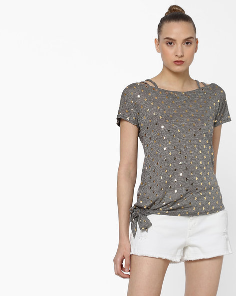 Printed Top With Side Tie-Up By Ginger By Lifestyle ( Grey )