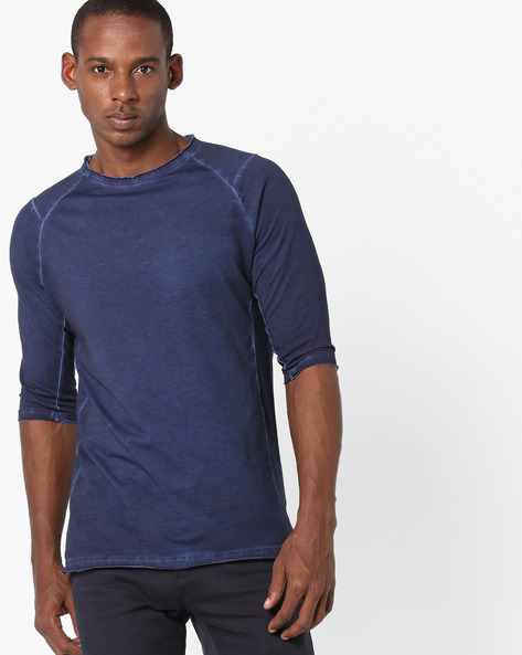 Raglan T-shirt With Raw Hems By Blue Saint ( Navy )