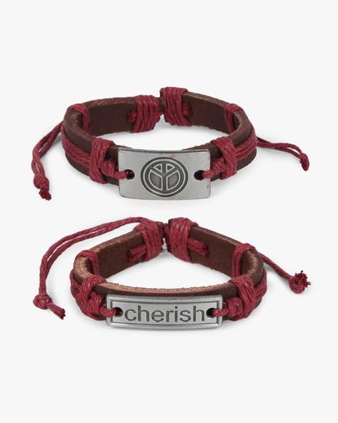 Pack Of 2 Bracelets By ALPHA MAN ( Maroon ) - 460134368001