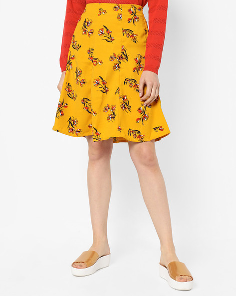 Floral Print Skirt With Pleats By Project Eve WW Work ( Yellow )