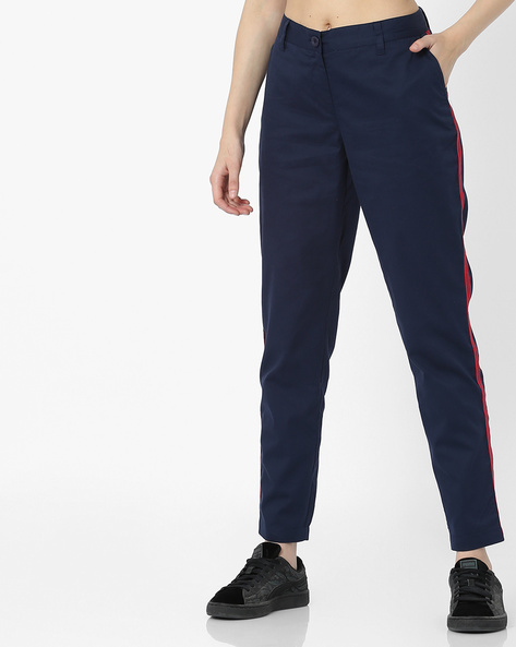 Flat-Front Trousers With Contrast Side Panels By AJIO ( Navy )