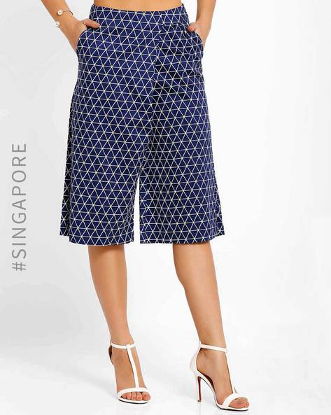 Printed Culottes With Pockets By MDS ( Navyblue )