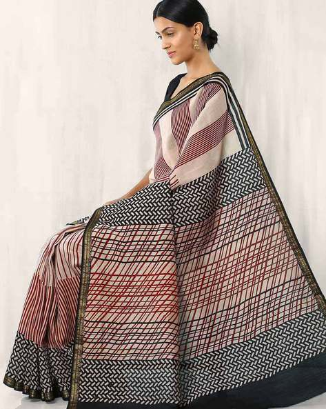 Maheshwari Hand Block Printed Cotton Saree By Rudrakaashe-MSU ( Offwhite )