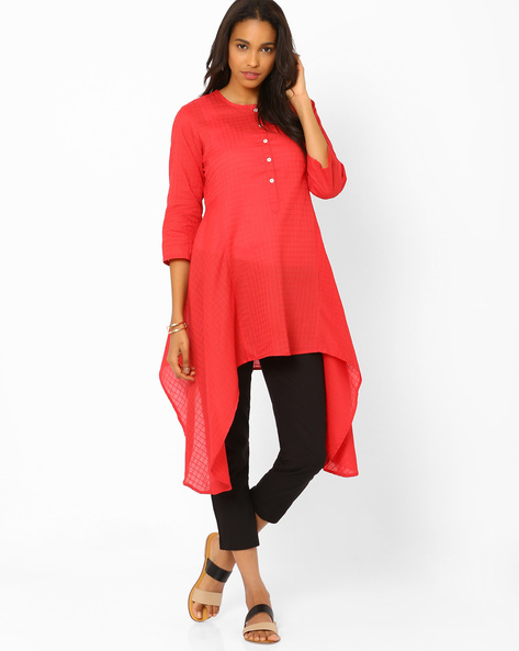 Top With Asymmetric Hem By Biba ( Red )