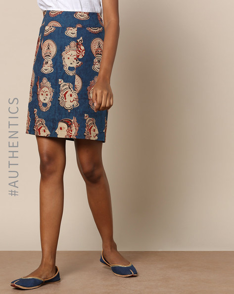 Handloom Cotton Kalamkari Print Short Skirt By Pilgrim ( Multi )