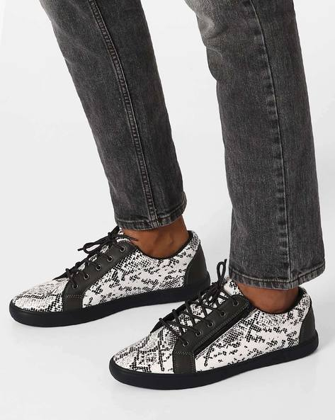 Printed Casual Shoes With Zippers By Muddman ( Grey )