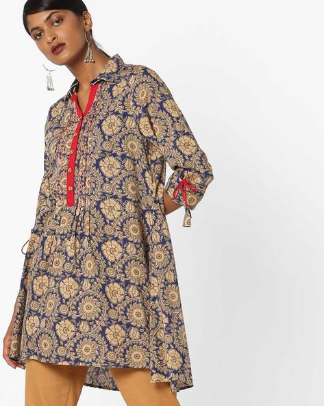Floral Print Tunic With Shirt Collar By AJIO ( Navy )